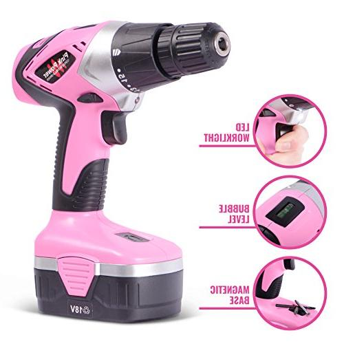 Pink 18V Electric Drill Driver Set for Women - Volt Drill, Charger 2
