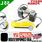 Yellow Portable Hose Compressor Electric Car Tire Air Inflat