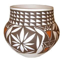 "Laguna Pueblo Hand Painted Bowl by M. Davis - 6""H Rare Colle"