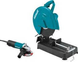 "Makita LW1401X2 14"" Cut-Off Saw w/ 4-1/2 Angle Grinder, Padd"