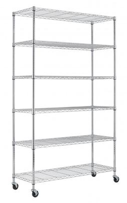New 6 Tier Wire Shelving Unit NSF Metal Shelf Rack 2100 LBS