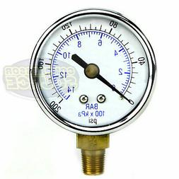 "1/8"" NPT Air Compressor Lower Mount Pressure Gauge 0-200 PSI"