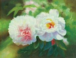 Oil Painting 'White Peony' Printing On Perfect Effect Canvas