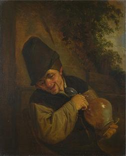 'Adriaen Van Ostade A Peasant Holding A Jug And A Pipe ' Oil