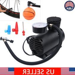 Portable 12 Volt Mini Air Compressor Pump With Gauge Car 300