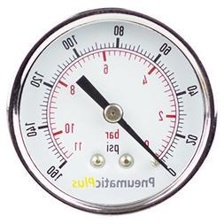 PneumaticPlus PSB20-160CP Air Pressure Gauge for Air Compres