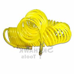 "50ft 1/4"" Recoil Air Hose Re Coil Spring Ends Pneumatic Comp"