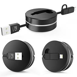 Retractable USB Cable, Acessorz 2in1 Lightning + Micro USB S