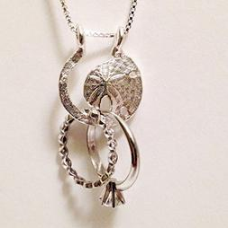 Ring and Charm Holder Necklace, Sand Dollar Design by Ali C