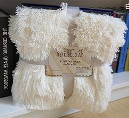 Super Soft Shaggy Long Faux Fur Throw Blanket Solid Decorati
