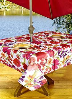 Outdoor Tablecloths, Umbrella Hole With Zipper Patio Tablecl