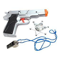 3-Piece Toy 45 Silver Pistol Bundle Includes 1 Police Style