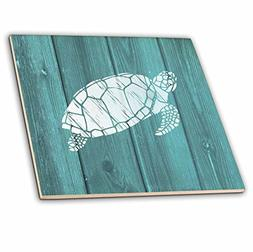 3dRose Turtle Stencil in White Over Teal Weatherboard- Not R
