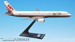 TWA  757-200 Airplane Miniature Model Plastic Snap-Fit 1:200