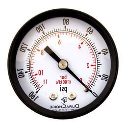 """2"""" Utility Pressure Gauge - Blk.Steel 1/4"""" NPT Center Back 1"""