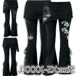 New Fashion Women's Pants 2 In 1 Black Embroidered Leggings
